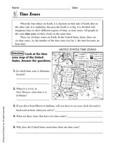 Time Zones Worksheet