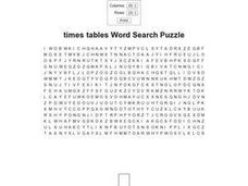 Times Tables Word Search Worksheet