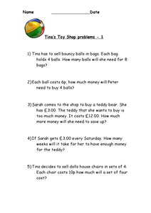 Tina's Toy Shop Problems Worksheet