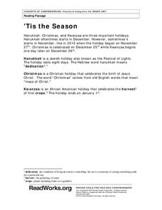 'Tis the Season Worksheet