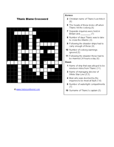 Titanic Blame Crossword Worksheet