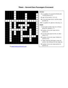 Titanic - Second Class Crossword Worksheet