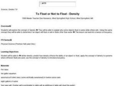 To Float or Not to Float - Density Lesson Plan