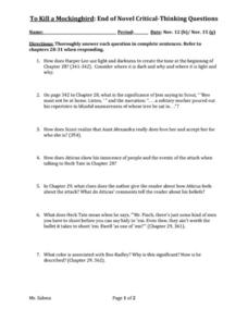 To Kill A Mockingbird Questions And Answers Worksheet - Worksheets