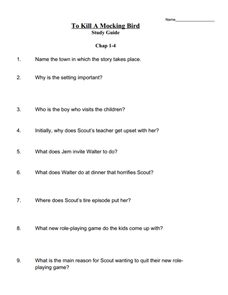 To Kill A Mockingbird Study Guide 9th Grade Worksheet | Lesson Planet