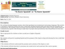 """To Know Spanish"" or ""To Know Spanish"" Lesson Plan"