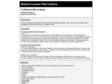 To Quote or Not to Quote Lesson Plan