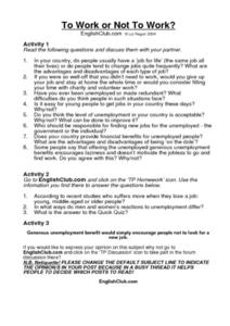 To Work or Not to Work? Worksheet