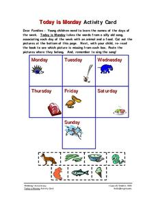 Today is Monday Activity Card Worksheet