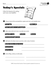 Today's Specials Lesson Plan