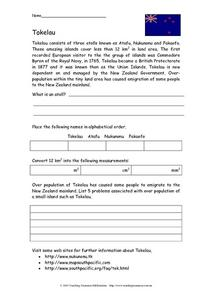 Tokelau Activity Worksheet
