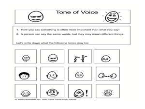 Printables Tone Worksheets tone of voice 1st 4th grade worksheet lesson planet worksheet
