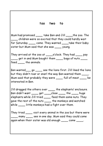 Too, Two, To Worksheet