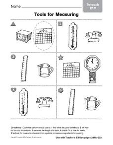 tools for measuring reteach 3rd 4th grade worksheet lesson planet. Black Bedroom Furniture Sets. Home Design Ideas