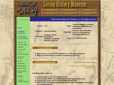 Tools of the Historian: Primary vs. Secondary Sources Lesson Plan