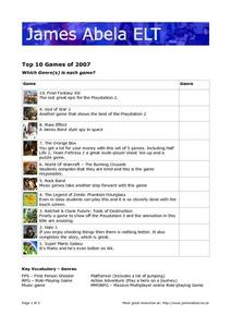 Top 10 Games of 2007 Worksheet