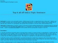 Top it all off with a Topic Sentence Lesson Plan
