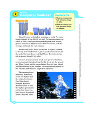 Top of the World  Worksheet