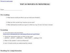 Top Ten Movies in Montreal! Lesson Plan