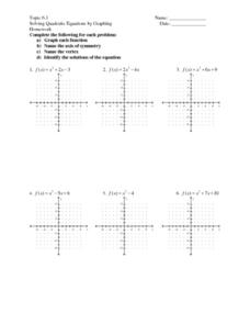 Worksheets Graphing Quadratics Worksheet topic 6 1 solving quadratic equations by graphing 7th 9th graphing