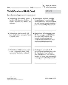 Total Cost and Unit Cost Worksheet