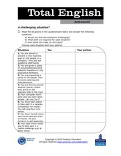 Total English Advanced: A Challenging Situation? Worksheet