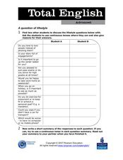 Total English Advanced: A Question of Lifestyle Worksheet