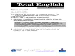 Total English Advanced: Fortunes Crossword Worksheet