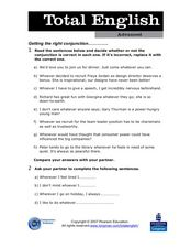 Total English Advanced: Getting the Right Conjunction Worksheet
