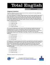 Total English Advanced : Imaginary Situations Worksheet