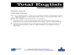 Total English Advanced: Paradise Island 2! Worksheet