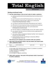 Total English Advanced: Sorting Out Phrasal Verbs Worksheet