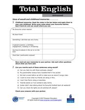 Total English Advanced: Use of Would and Childhood Memories Worksheet