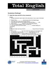 Total English Advanced: Vocabulary Challenge! Worksheet