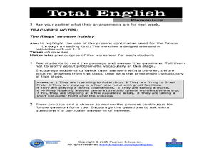 Total English Elementary: The Riley's Summer Holiday Worksheet