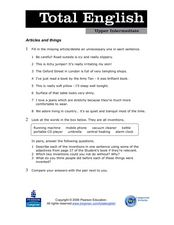 Total English Upper Intermediate: Articles and Things Worksheet