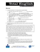 Total English Upper Intermediate: Memories Worksheet