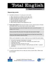 Total English Upper Intermediate: Sequencing Events Worksheet