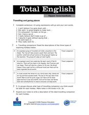 Total English Upper Intermediate: Traveling and Going Places Worksheet