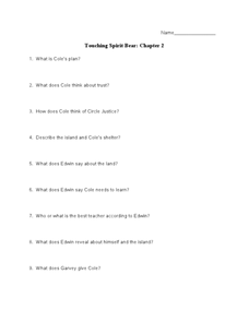Touching Spirit Bear: Chapter 2 Worksheet