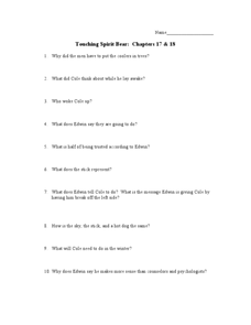 Touching Spirit Bear: Chapters 17 & 18 Worksheet