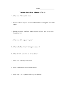 Touching Spirit Bear: Chapters 27 & 28 Lesson Plan