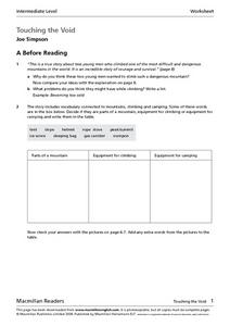 Touching the Void by Joe Simpson Worksheet
