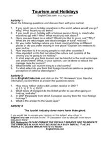 Tourism and Holidays Worksheet