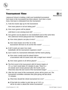 Tournament Time Reasoning Worksheet Worksheet