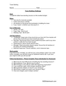Tower Building Challenge- Budgeting Worksheet