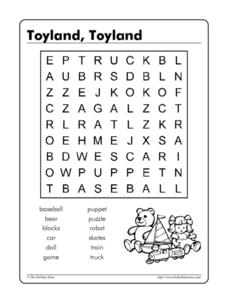 Toyland, Toyland Word Search Worksheet