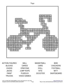 Toys Word Search Worksheet