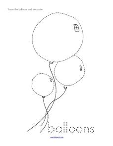 Trace and Color: Balloons Worksheet