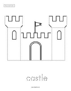 Trace and Color: Castle Worksheet